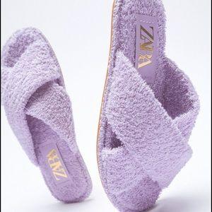 Zara Terrycloth Flat Crossed Strap Sandal NWT